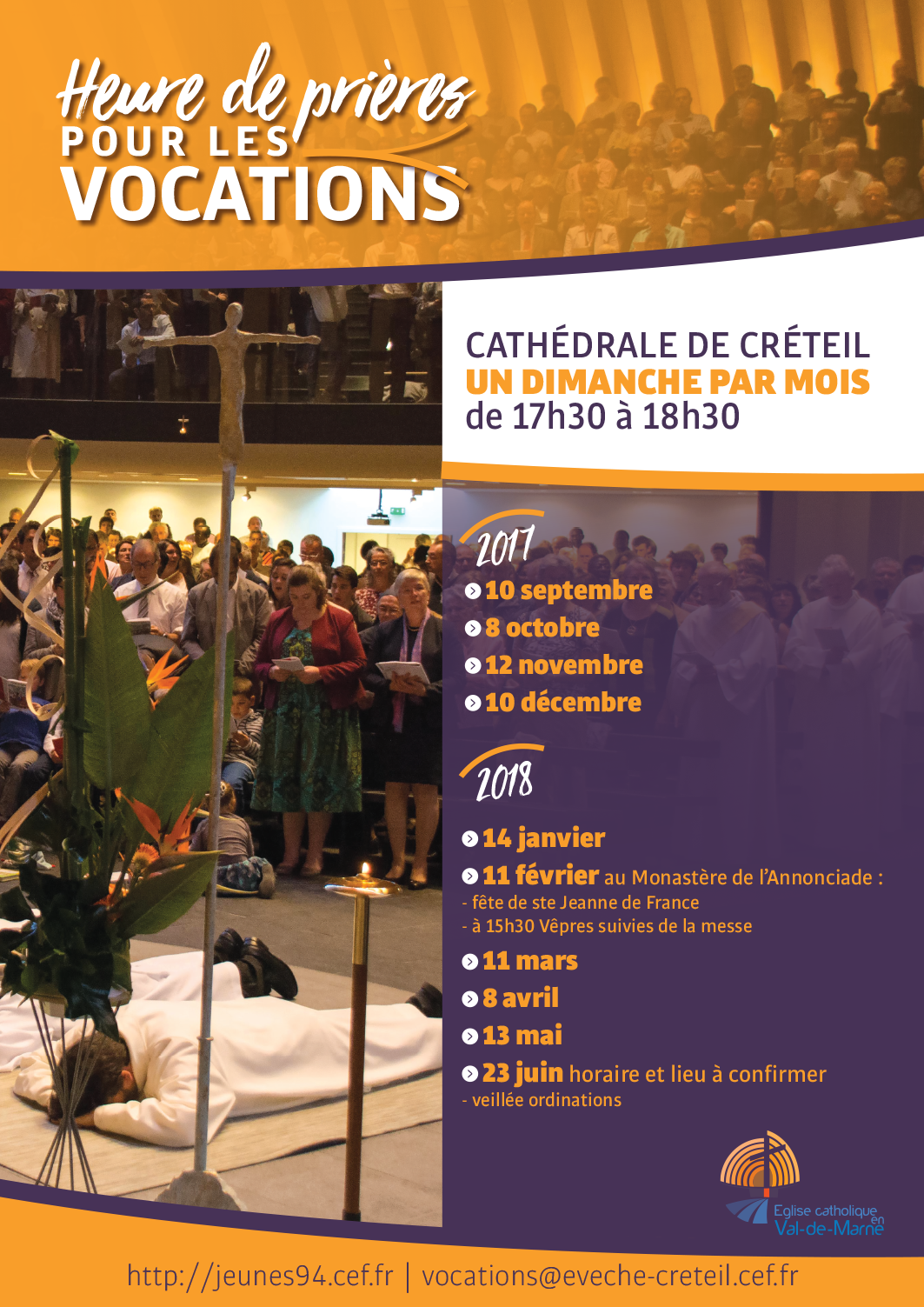 Heure de prière pour les vocations le 13 mai 2018 à la cathédrale de Créteil (94)