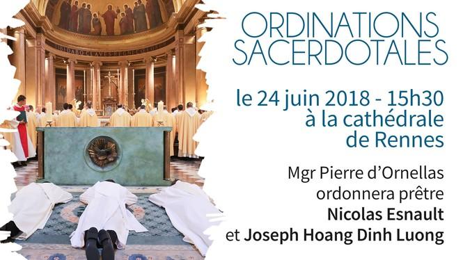 Ordinations sacerdotales de Nicolas Esnault et Joseph Hoang Dinh Luong le 24 juin 2018 à Rennes (35)
