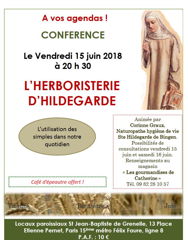Conférence sur la médecine selon sainte Hildegarde le 15 juin 2018 à Paris