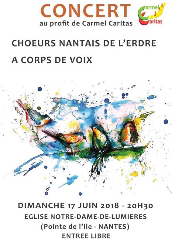 17 juin 2018: Concert au profit de Carmel-Caritas au couvent Notre-Dame de Lumière à Nantes (44)