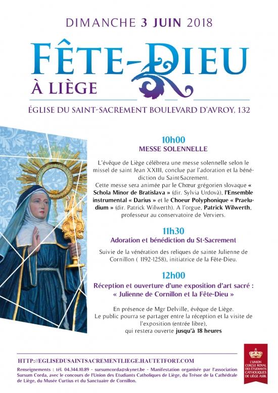 La Fête-Dieu 2018 à Liège (Belgique): dimanche 3 juin une journée exceptionnelle à l'église du Saint-Sacrement