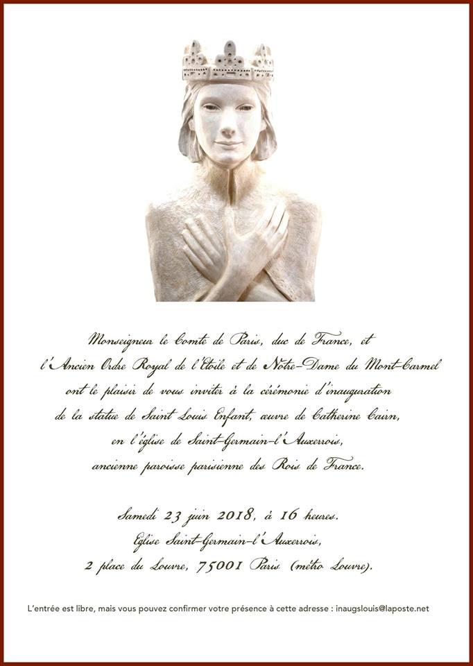 Inauguration de la statue de Saint Louis Enfant, oeuvre de Catherine Cairn, en l'église Saint-Germain-l'Auxerrois à Paris le 23 juin 2018