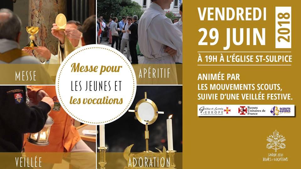 Messe pour les jeunes et les vocations et veillée festive le 29 juin 2018 à Paris
