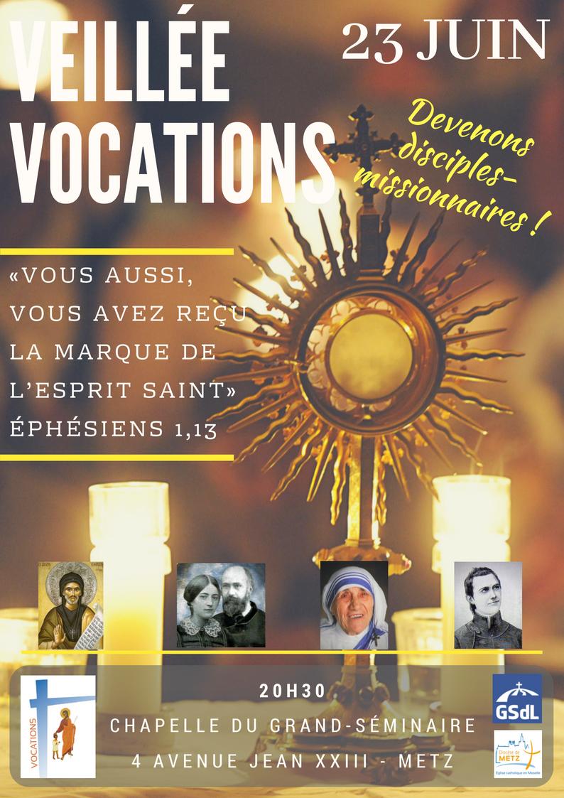 Veillée pour les vocations à Metz (57) le 23 juin 2018