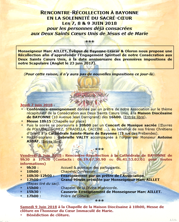 Concert de Musique Sacrée au bénéfice des Chrétiens d'Orient le 7 juin 2018 à Bayonne (64) dans le cadre d'une rencontre du 7 au 9 juin