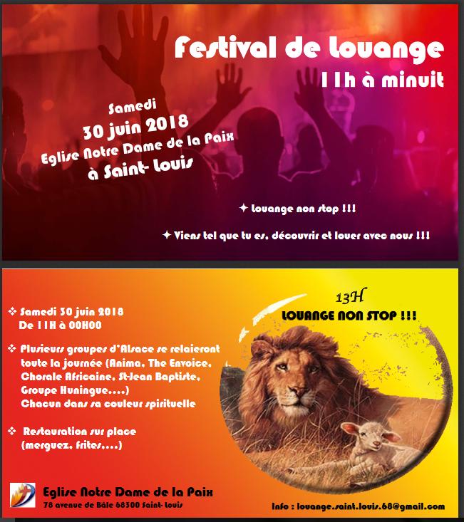 Le festival de louange de Saint-Louis (68) le 30 juin 2018