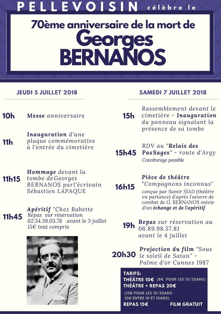 70ème anniversaire de la mort de Georges Bernanos à Pellevoisin (36) les 5 & 7 juillet 2018