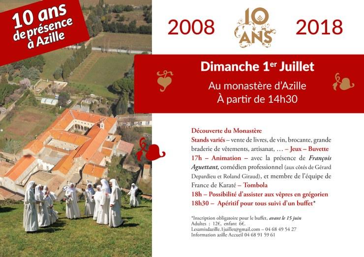 Monastère d'Azille (11): 10 ans de présence – Découverte du monastère le 1er juillet 2018