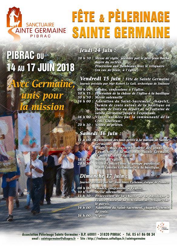 Fête et Pèlerinage Sainte Germaine du 14 au 17 juin 2018 à Pibrac (31)
