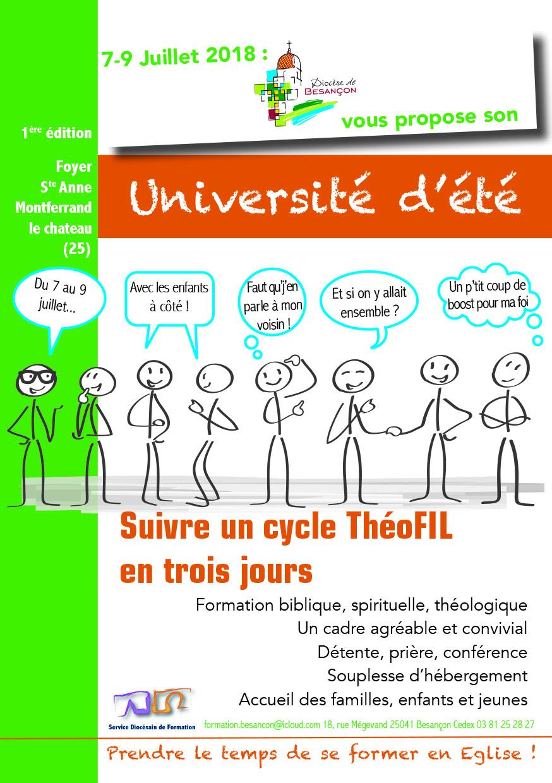 Université d'été du diocèse de Besançon du 7 au 9 juillet 2018 à Montferrand-le-Château (25)