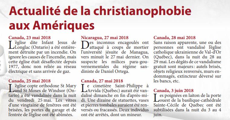 Actualité de la christianophobie aux Amériques