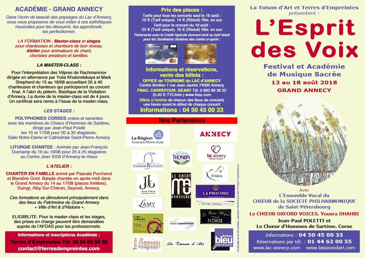 L'Esprit des Voix, festival et académie de musique sacrée à Annecy (74) du 13 au 18 août 2018