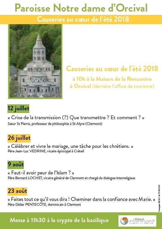 Causeries au coeur de l'été à Orcival (63) les 12 & 26 juillet et 9 & 23 août 2018