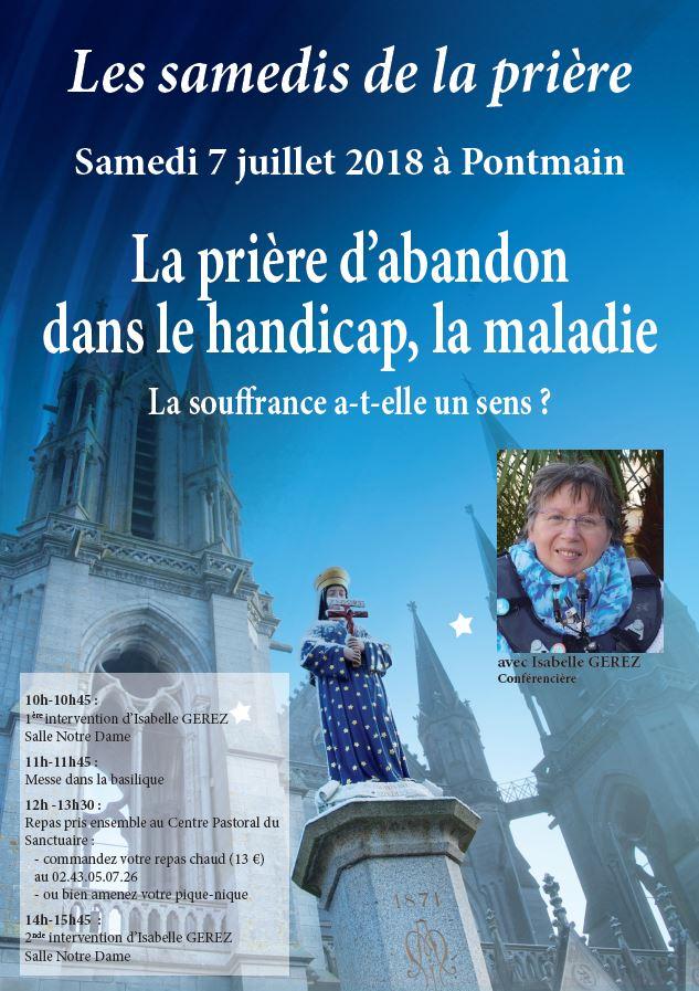 La prière d'abandon dans le handicap & la maladie – Conférence à Pontmain (53) le 7 juillet 2018