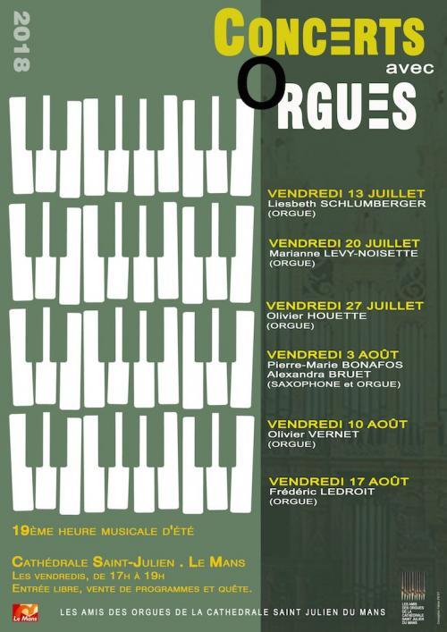 Concerts d'orgue à la cathédrale saint Julien du Mans (72) les vendredis jusqu'au 17 août 2018