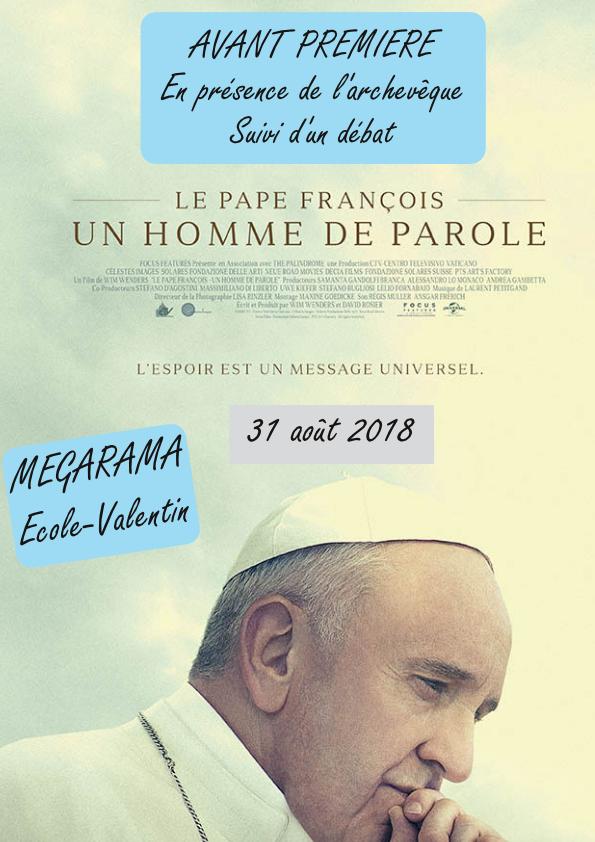 """Projection en avant-première du film """"Le Pape François, un homme de parole"""" le 31 août 2018 à Besançon (25)"""