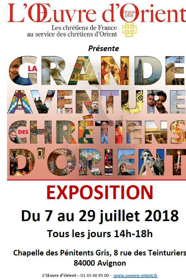 Exposition: La grande aventure des chrétiens d'Orient à Avignon (84) du 7 au 29 juillet 2018