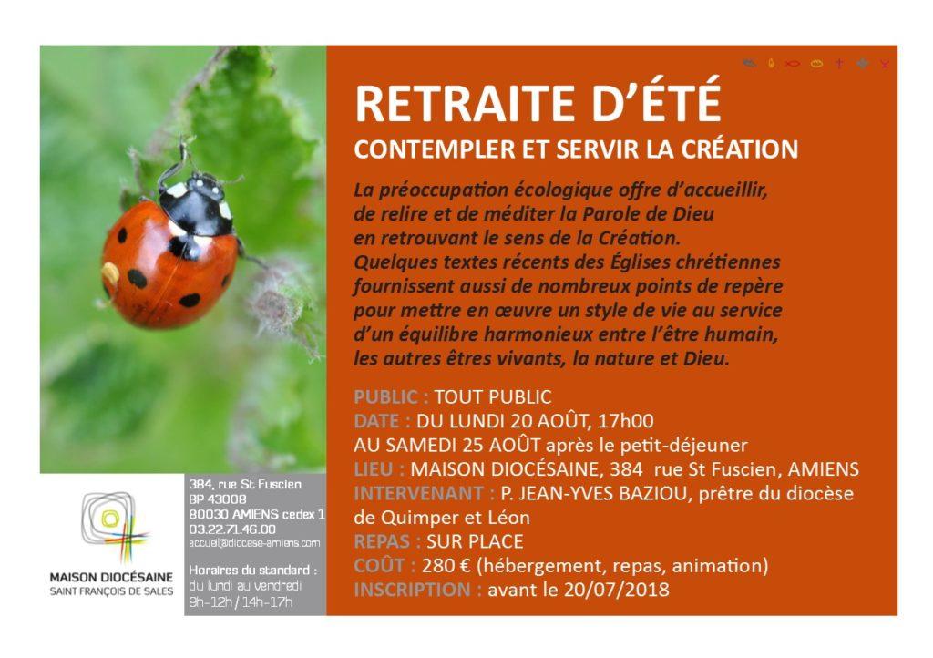 Retraite d'été: Contempler et servir la Création du 20 au 25 août 2018 à Amiens (80)
