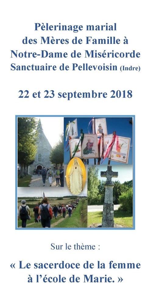 Pèlerinage marial des Mères de famille à Pellevoisin (36) les 22 & 23 septembre 2018