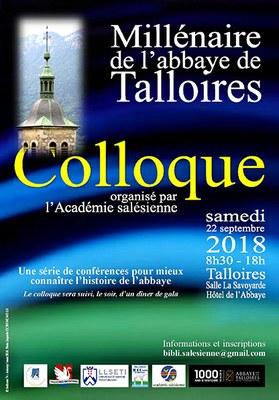 Colloque 1000 ans de l'Abbaye de Talloires (74) le 22 septembre 2018