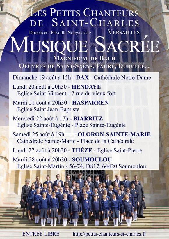 Concerts de Musique Sacrée des Petits Chanteurs de Saint Charles – Landes, Pays Basque et Béarn du 19 au 28 août 2018
