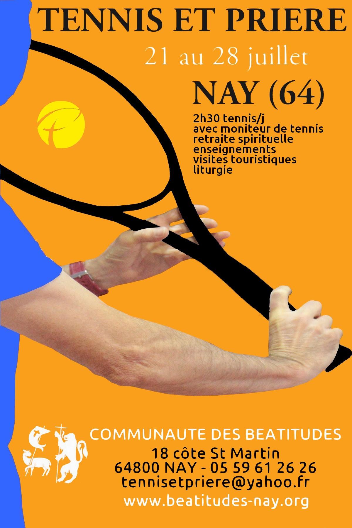 """Session """"Tennis et Prière"""" du 21 au 28 juillet à Nay (64)"""
