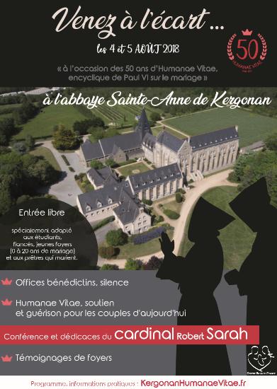 Venez à l'écart… les 4 & 5 août à l'Abbaye de Kergonan (56) pour les 50 ans d'Humanae Vitae avec le Cardinal Sarah
