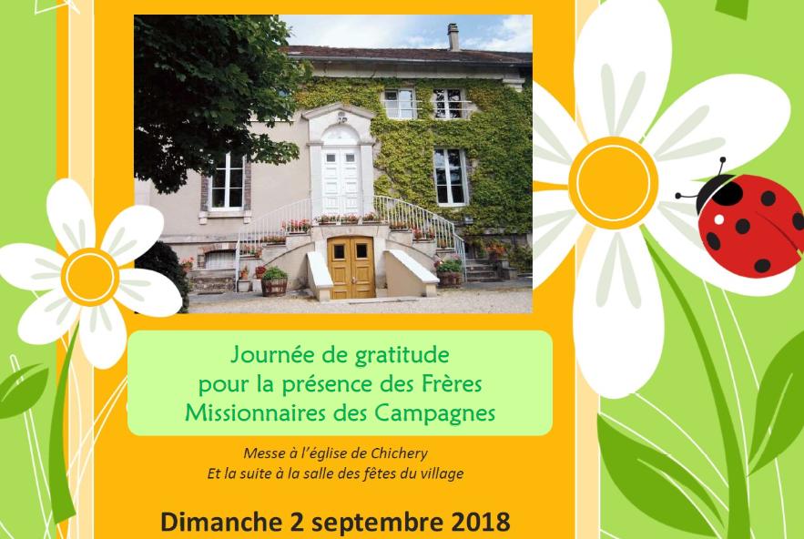 Journée de Fraternité à Chichery (89) le 2 septembre 2018 – départ des Frères Missionnaires des Campagnes
