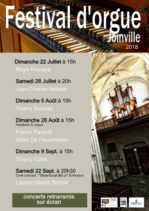 Festival d'orgue 2018 de Joinville (52): Concerts les 26 août, 9 et 22 septembre