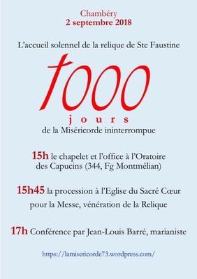 Accueil solennel de la relique de Sainte Faustine à Chambéry (73) le 2 septembre 2018