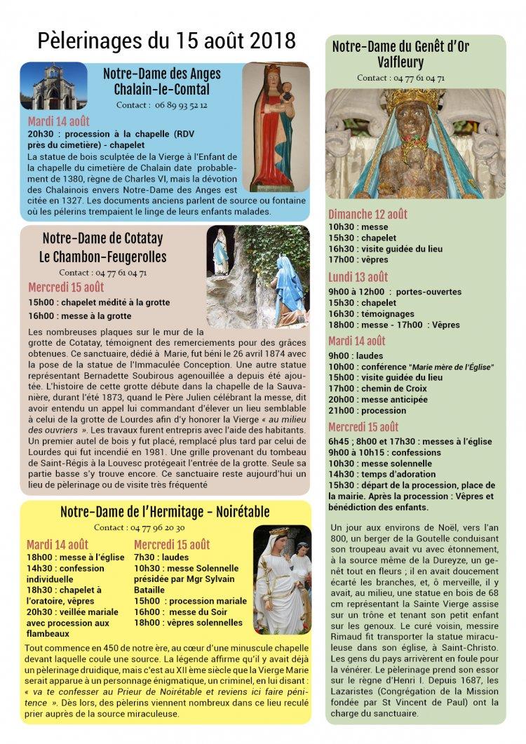 Programme du 15 août 2018 à l'Hermitage de Noirétable (42) et dans le diocèse de Saint-Etienne