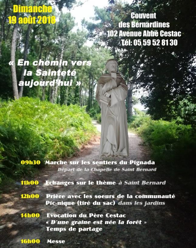 """""""En chemin vers la Sainteté aujourd'hui"""" avec les Bernardines d'Anglet (64) le 19 août 2018"""