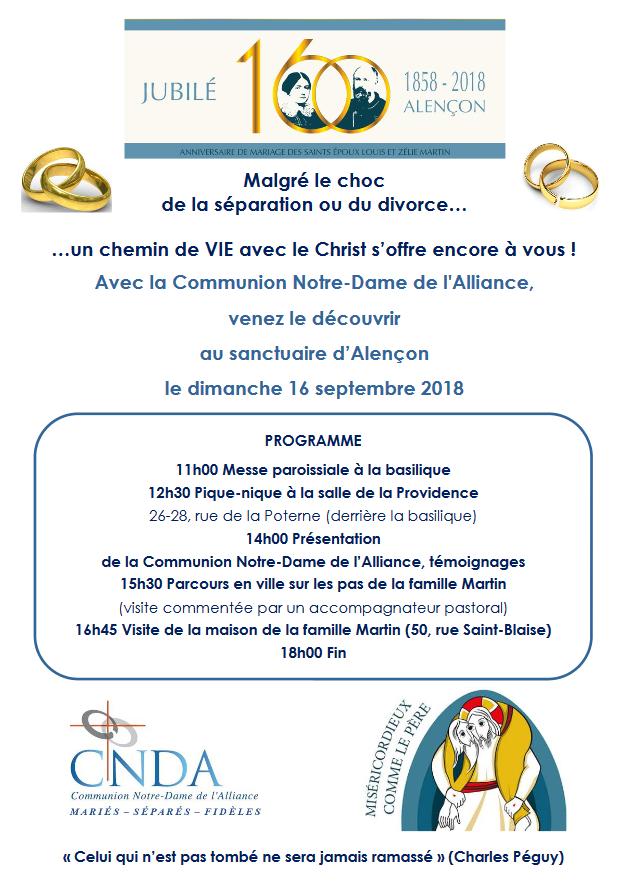 Journée avec la Communion Notre-Dame de l'Alliance pour les personnes divorcées ou séparées – Le 16 septembre 2018 au Sanctuaire d'Alençon (61)