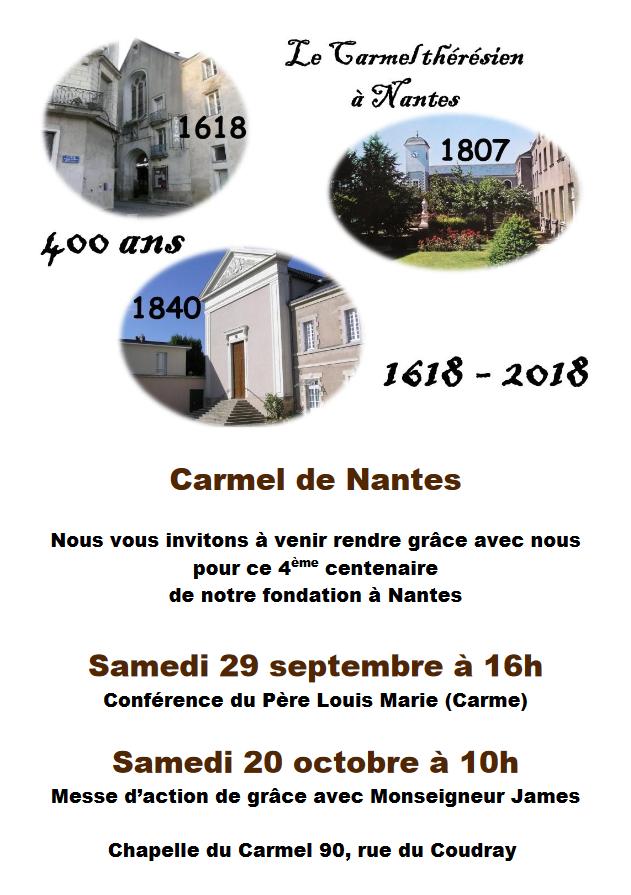 29 septembre 2018: Conférence du père Louis Marie à Nantes (44) pour les 400 ans du Carmel thérésien de France