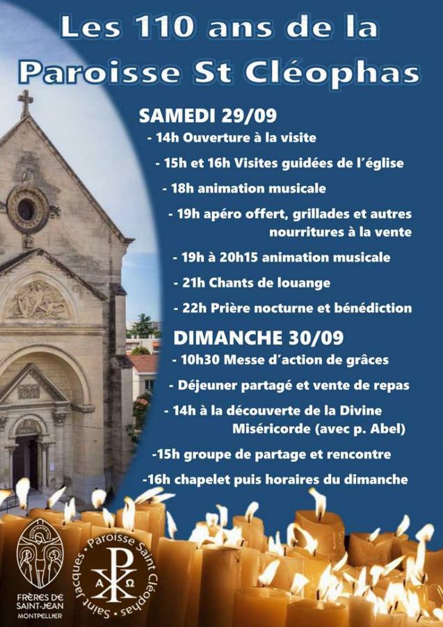110 ans de l'église Saint Cléophas de Montpellier (34) les 29 & 30 septembre 2018