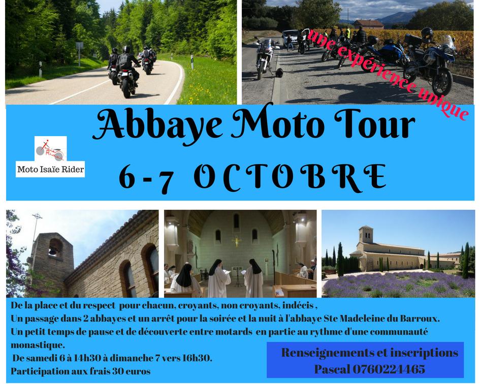 Abbaye Moto Tour: avec les motards chrétiens du diocèse d'Avignon (84) les 6 & 7 octobre 2018