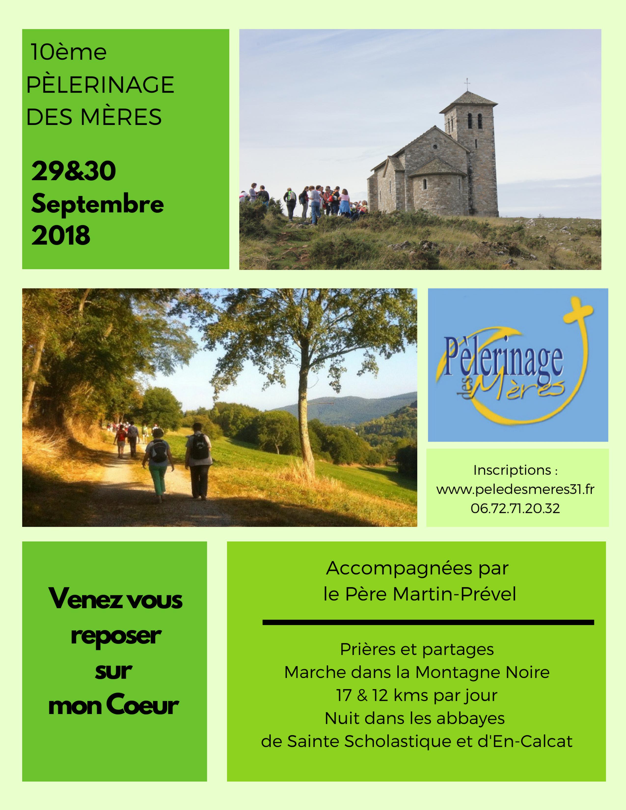 Pèlerinage des mères de la Haute-Garonne autour de Dourgne et En Calcat (81) les 29 & 30 septembre 2018