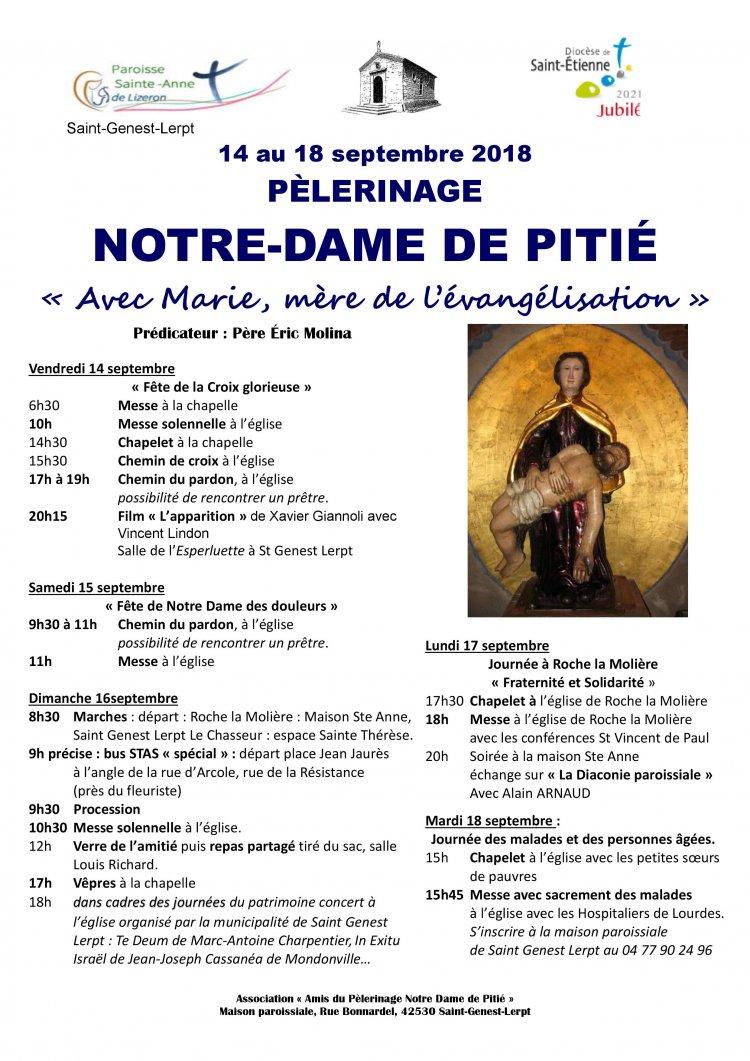Pèlerinage à Notre Dame de Pitié du 14 au 18 septembre 2018 à Saint-Genest-Lerpt (42)