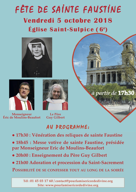 Grande célébration à l'occasion du 80e anniversaire du rappel à Dieu de sainte Faustine le 5 octobre 2018 à Paris
