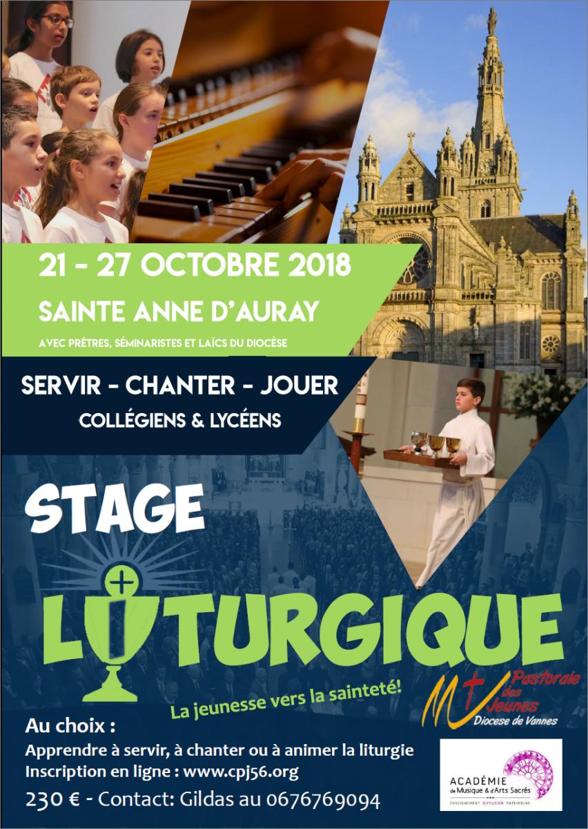 Stage liturgique pour les jeunes du 21 au 27 octobre 2018 à Sainte-Anne-d'Auray (56)
