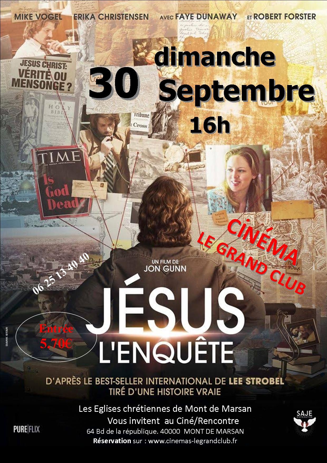 Projection du film Jésus L'enquête le 30 septembre 2018 à Mont de Marsan (40)