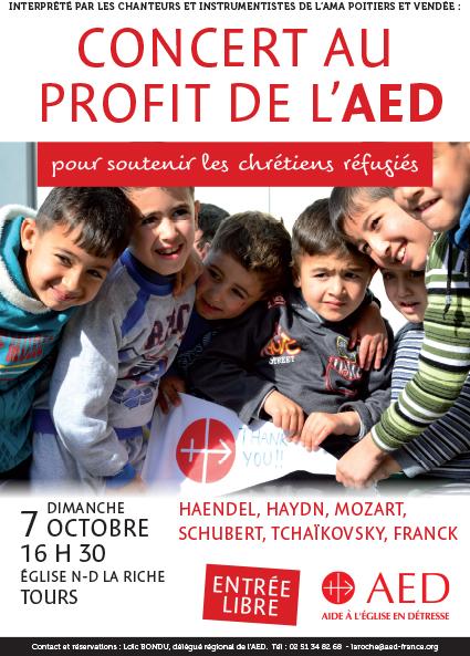 Concert au profit de l'AED, en soutien aux chrétiens réfugiés – Le 7 octobre 2018 à Tours (37)