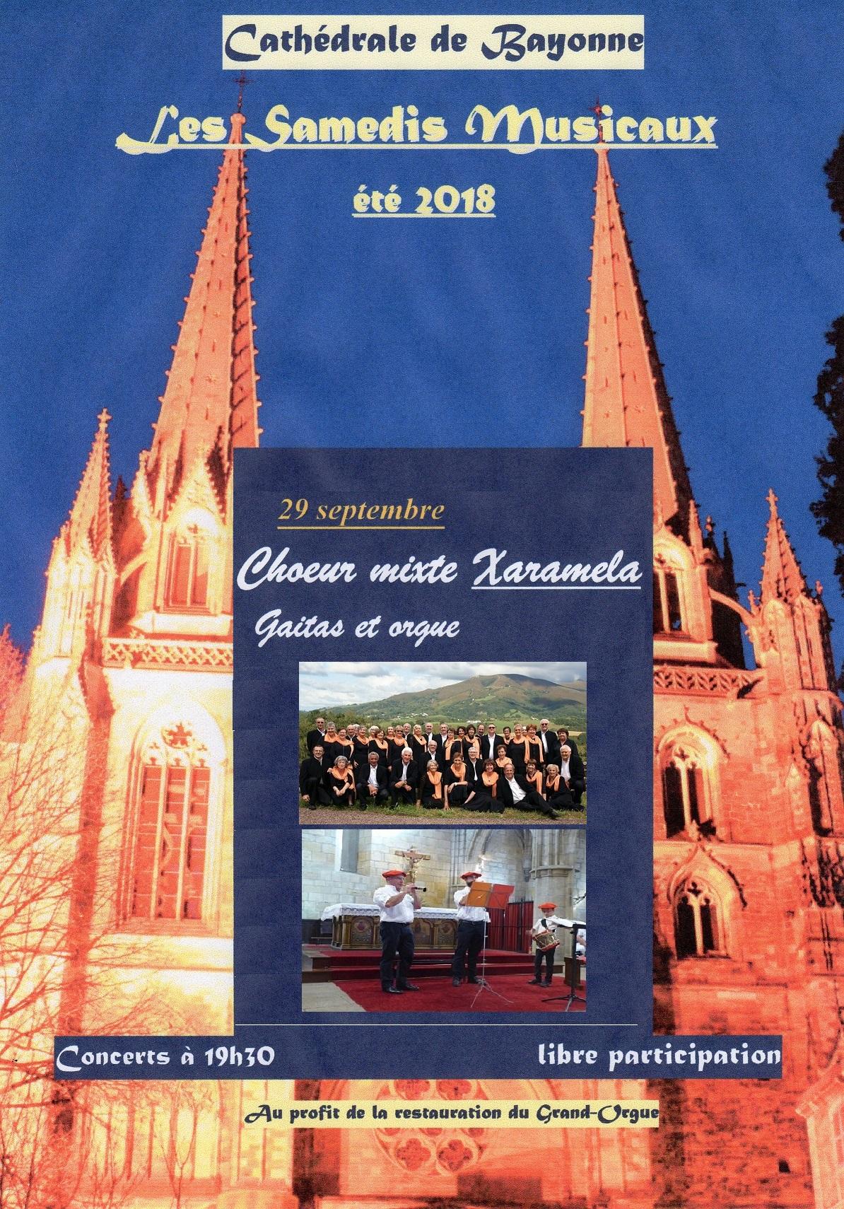 Concert du choeur XARAMELA à la cathédrale de Bayonne (64) le 29 septembre 2018