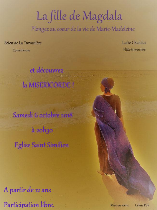 6 octobre 2018: Spectacle «La fille de Magdala» en l'église Saint-Similien de Nantes (44)