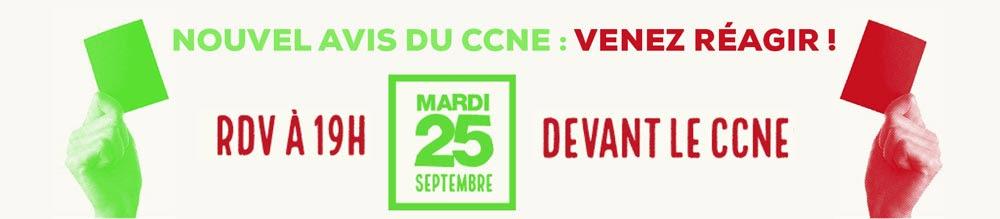 Appel de LMPT: rdv le 25 septembre 2018 devant le CCNE à Paris