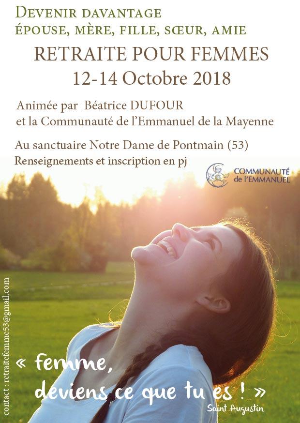 Retraite à Pontmain (53) pour les femmes du 12 au 14 octobre 2018