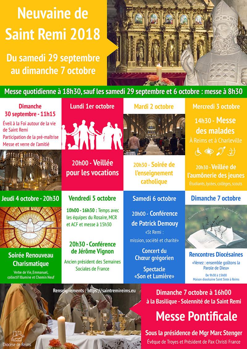 Neuvaine de Saint Remi 2018 du 29 septembre au 7 octobre à Reims (51)