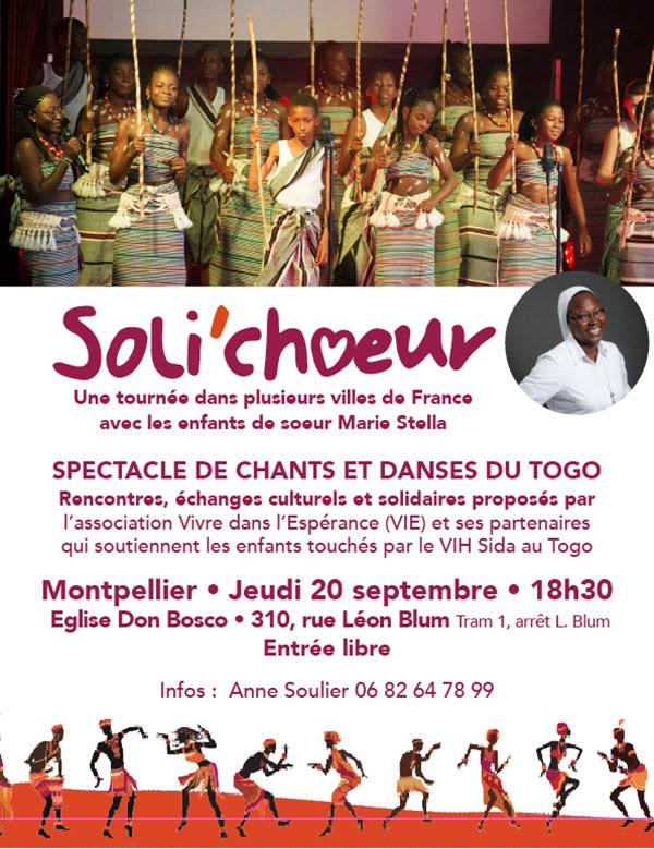 Soli'chœur – Spectacle de chants et danses du Togo le 20 septembre 2018 à Montpellier (34)