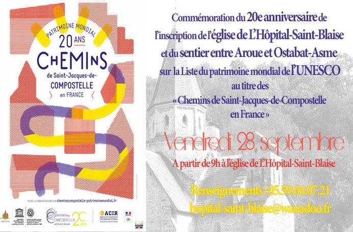 """28 septembre 2018: 20ème anniversaire de l'inscription de l'église de L'Hôpital-Saint-Blaise (64) au patrimoine mondial de l'UNESCO au titre des """"Chemins de Saint-Jacques de Compostelle en France"""""""