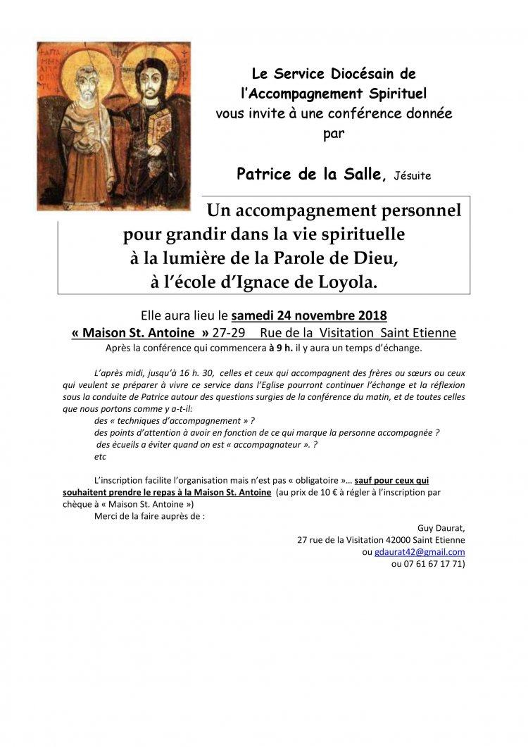 Conférence: grandir dans la vie spirituelle grâce à l'accompagnement personnel – le 24 novembre 2018 à Saint-Etienne (42)
